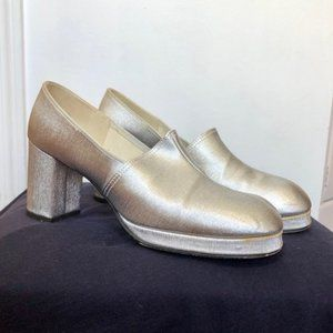 Vintage Disco Silver Platform Heels